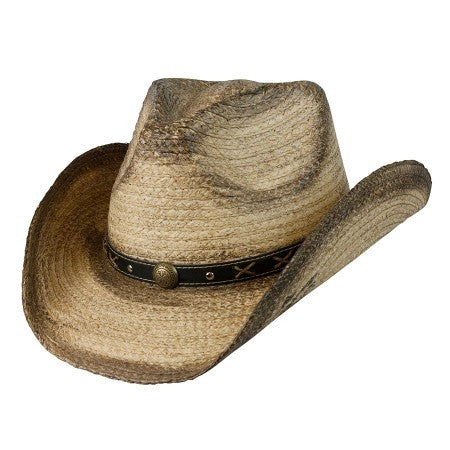 "Conner Handmade Hats Raffia ""Signal"" Western with Brass Conchos on Hat Band Front View"