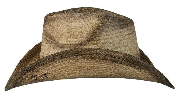 "Conner Handmade Hats Raffia ""Signal"" Western with Brass Conchos on Hat Band Side View"