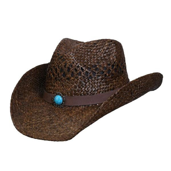 Conner Handmade Hats Raffia Classic Western Style Brown with Turquoise colored center stone Front View