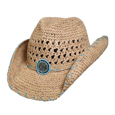 "Conner Handmade Hats Raffia ""Abaco"" Front View"