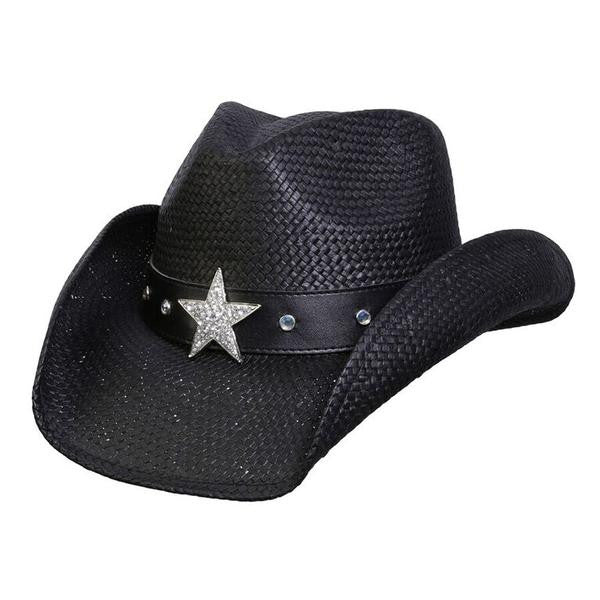 "Conner Handmade Hats Toyo ""Silver Star"" Black Front View"