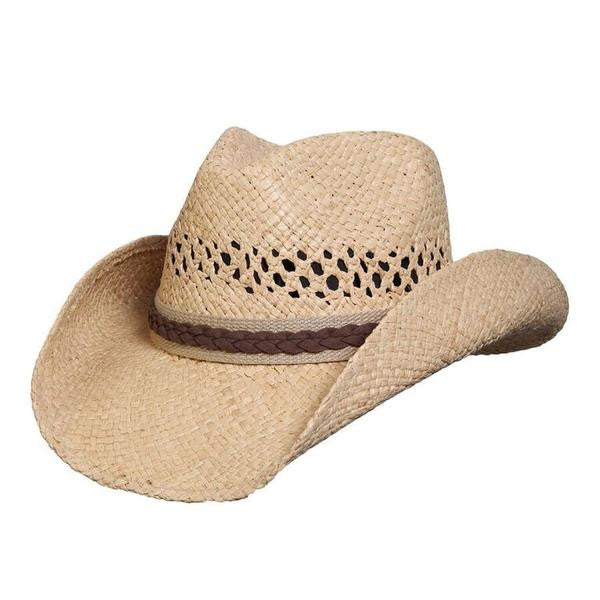 "Conner Handmade Hats Raffia Western Style ""Good Day"" with Jute Hatband"