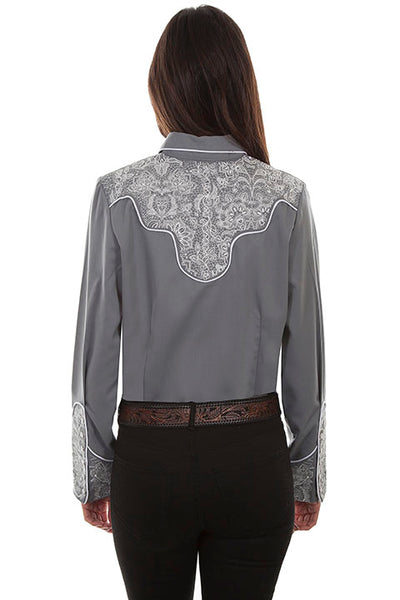 Scully Ladies' Vintage Inspired Lace Yokes on Grey Front #719875
