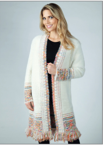 Ladies' Venario Cardigan Sweater: Fay Ivory with Fringe Bottom Border Front