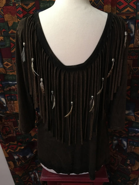Designs by Pat Dahnke Reversible Fringed Feathered Tunic Front