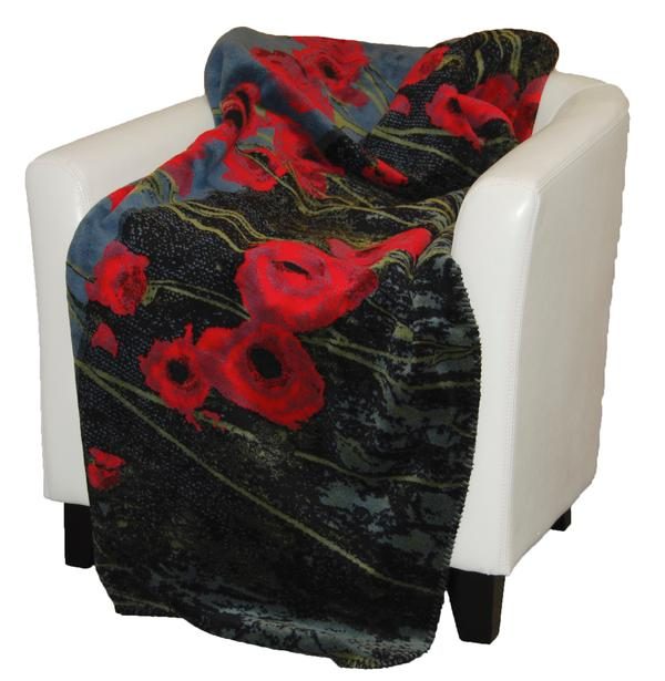 Denali Blankets Field of Poppies Throw Blanket on Chair