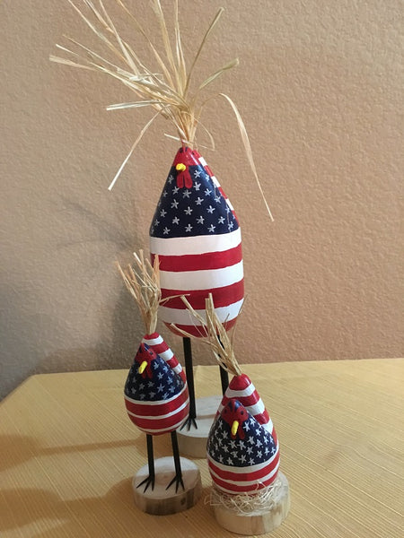 Edith John Hand Carved Patriotic Brood of Chickens