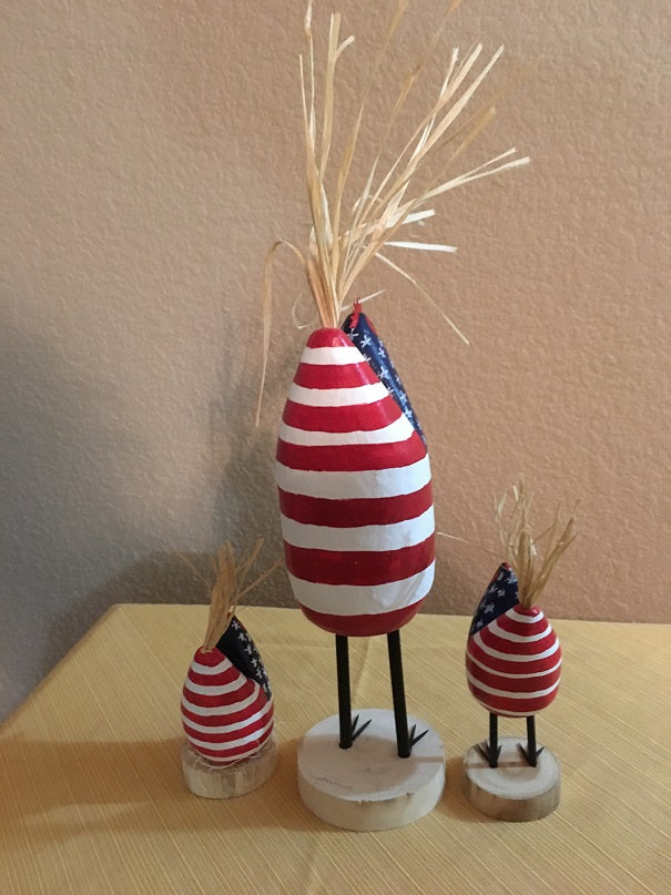 Edith John Hand Carved Patriotic Brood of Chickens Medium and Small