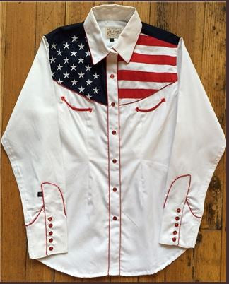 Rockmount Ranch Wear Womens Vintage Western Flag Shirt Front on Model