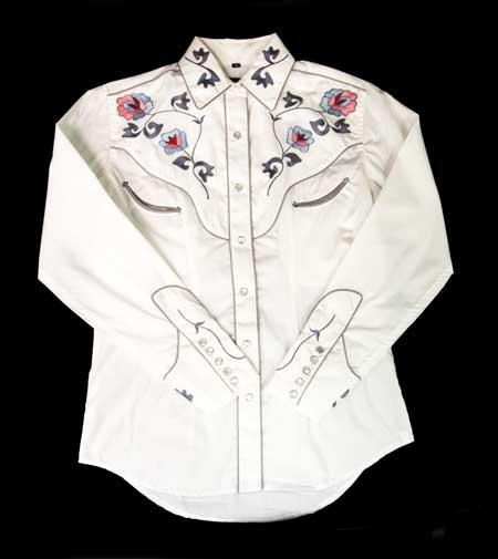 White Horse Apparel Women's Western Shirt Embroidered Floral Design on White