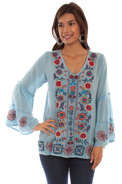 Scully Honey Creek Pullover Floral Embroidered Blouse Front #719699