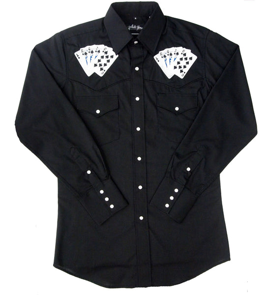White Horse Apparel Men's Western Embroidered Shirt Royal Flush Cards on Black