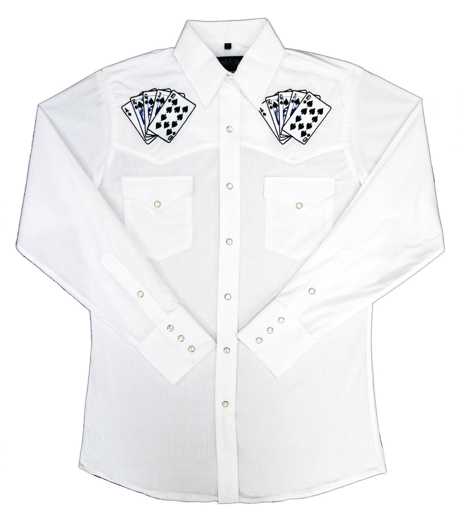 White Horse Apparel Men's Western Embroidered Shirt Royal Flush Cards on White