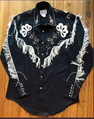Vintage Inspired Western Shirt Ladies Rockmount Fringe Black
