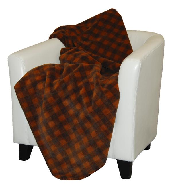 Denali Blankets Buffalo Plaid Check Gold Taupe Throw Blanket on Chair