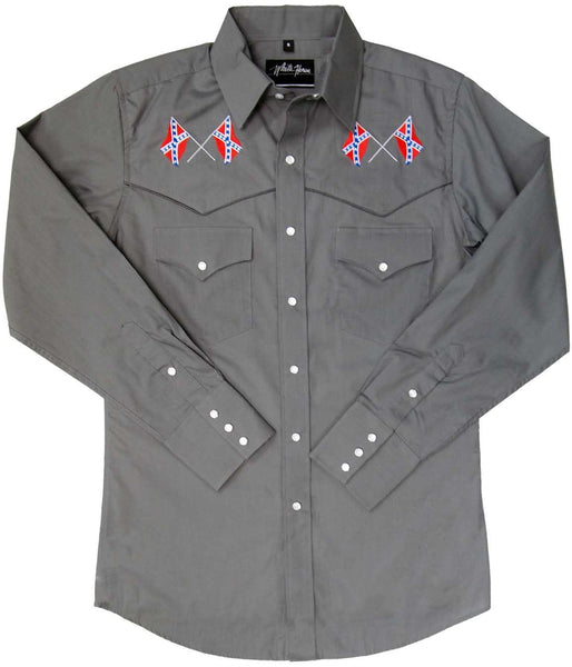 White Horse Apparel Men's Western Shirt Confederate Flag Front