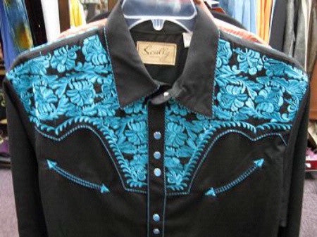 Vintage Inspired Western Shirt Mens Scully Gunfighter Turquoise Yoke S-4XL