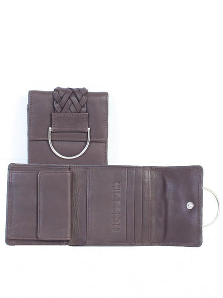 Scully Tri-Fold Wallet Rich Chocolate with Harness Detail