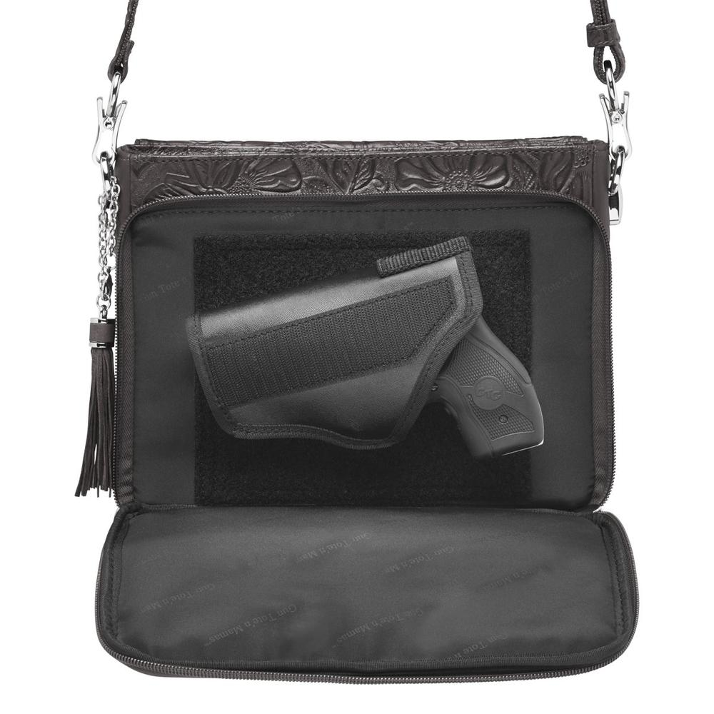 Concealed CArry Crossbody Shoulder Bag Tooled Black Concealed Carry Compartment