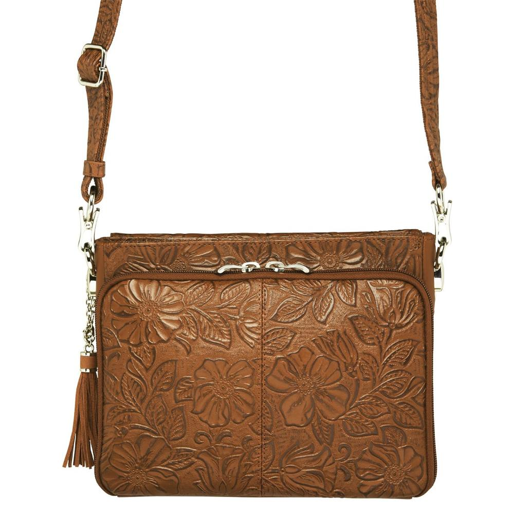 Concealed Carry Crossbody Shoulder Bag Tooled Tan Back Concealed Compartment