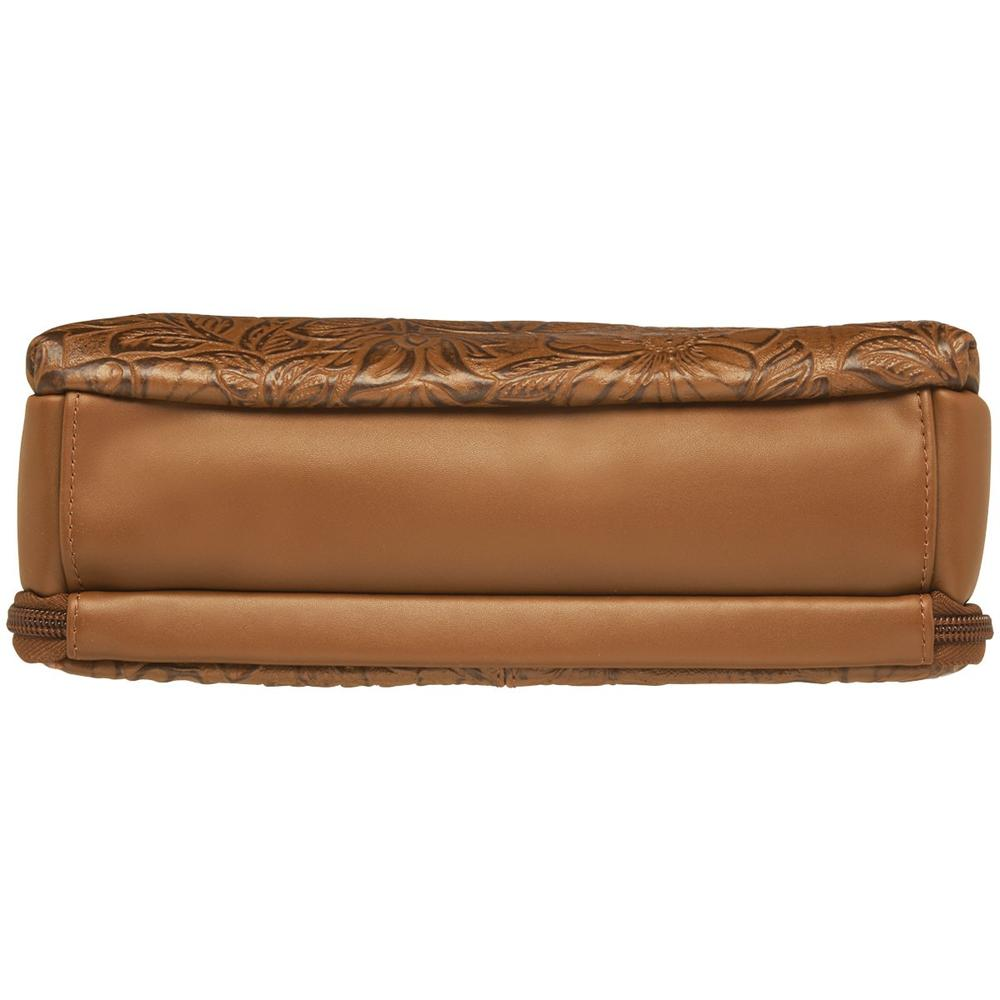 Concealed Carry Crossbody Shoulder Bag Tooled Tan Bottom