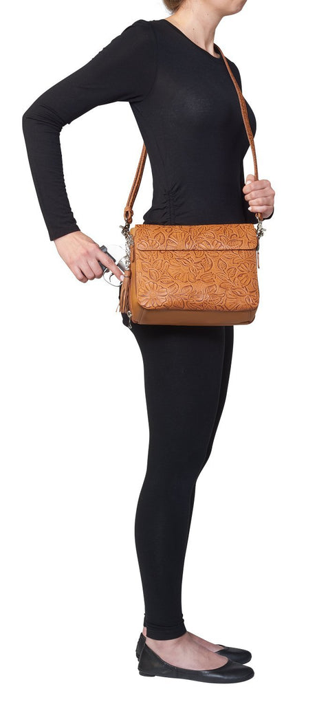 Concealed Carry Crossbody Shoulder Bag Tooled Tan Model Drawing
