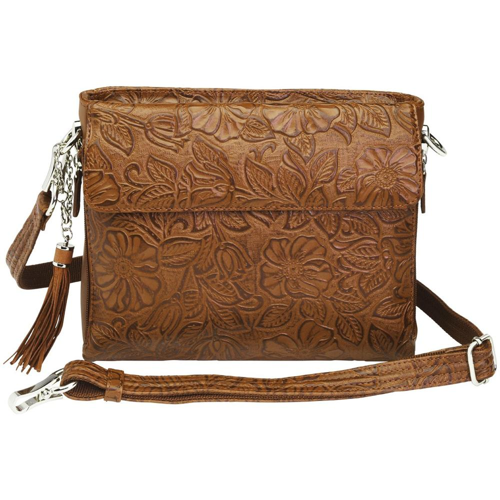 Concealed Carry Crossbody Shoulder Bag Tooled Tan Front