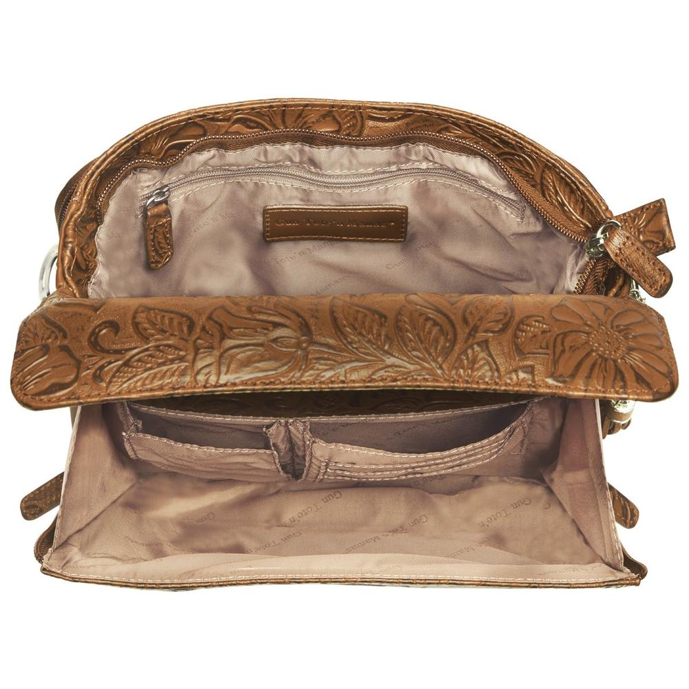 Concealed Carry Crossbody Shoulder Bag Tooled Tan Interior