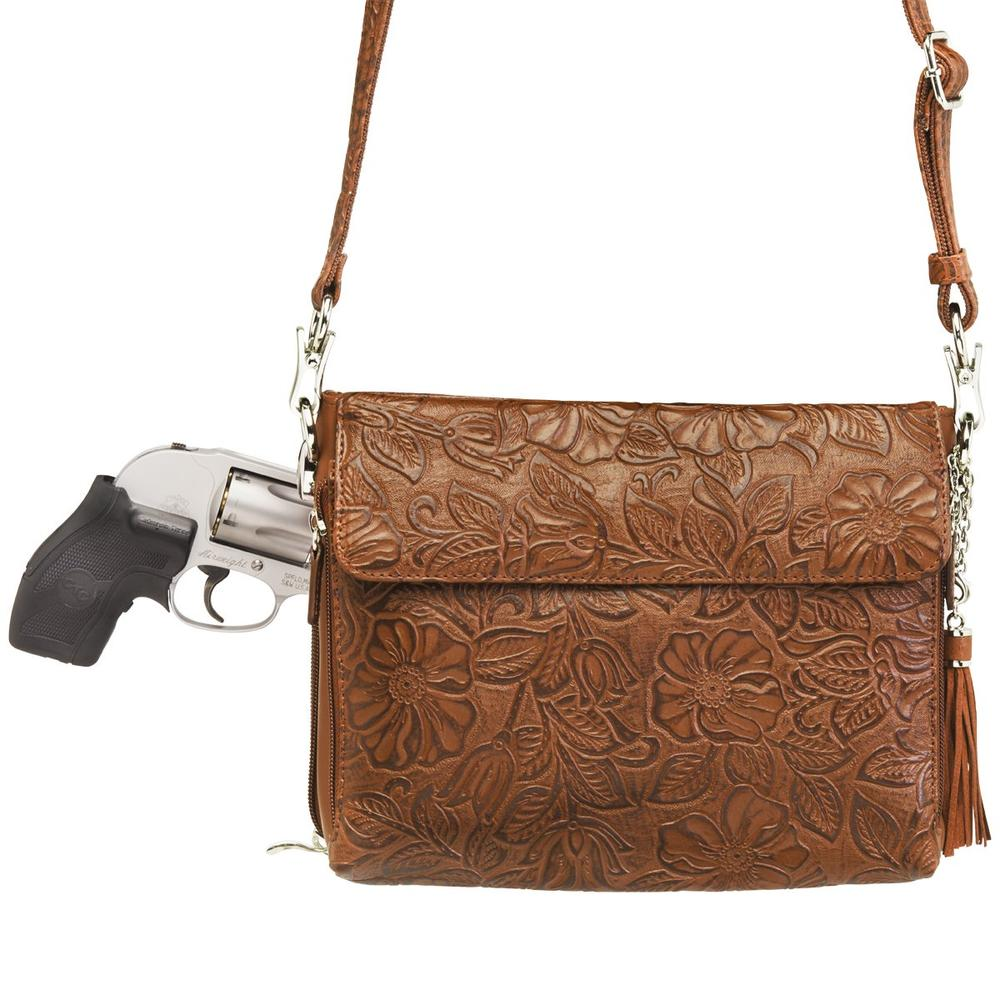 Concealed Carry Crossbody Shoulder Bag Tooled Tan with Gun
