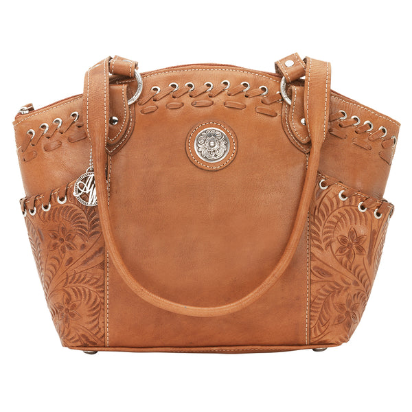 American West Handbag, Harvest Moon Collection, Zip Top Bucket Tote Front View