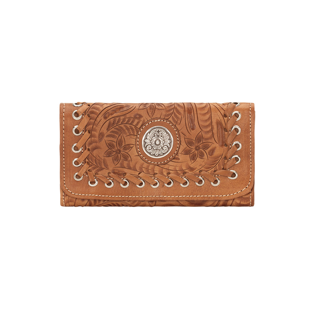 American West Handbag, Harvest Moon Collection, Tri-Fold Wallet Front View