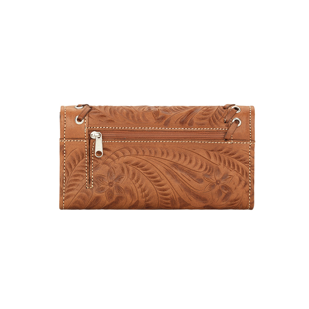 American West Handbag, Harvest Moon Collection, Tri-Fold Wallet Back View