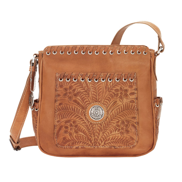 American West Handbag, Harvest Moon Collection, Crossbody Zip Top Bucket Tote, Front View