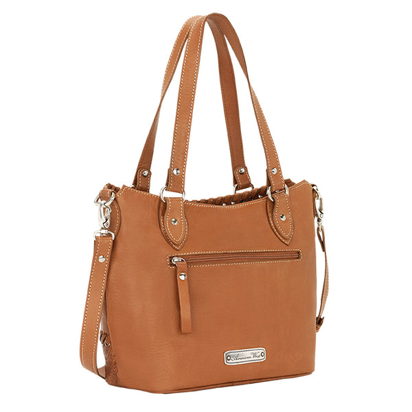 American West Handbag, Harvest Moon Collection, Zip Top Convertible Bucket Tote Front View