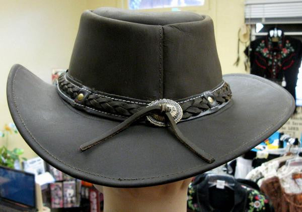 Conner Handmade Hats Cowboy Leather Down Under Brown Back
