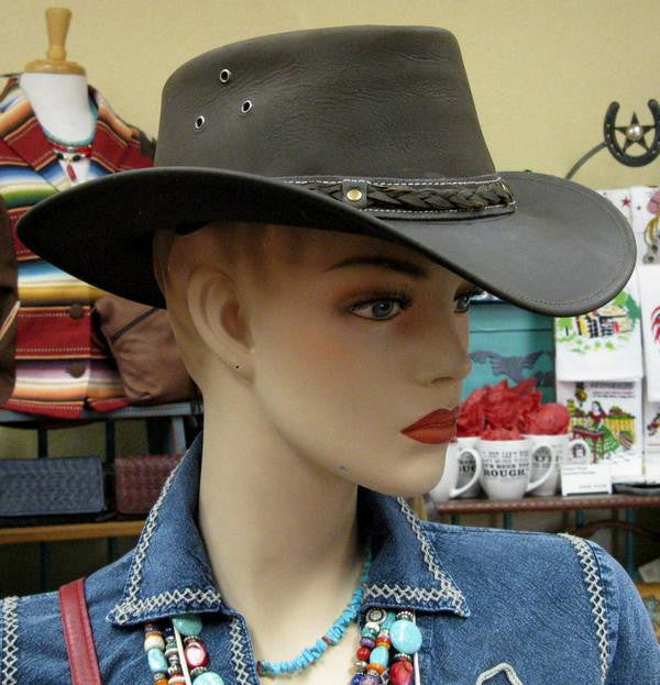 Conner Handmade Hats Cowboy Leather Down Under Brown Front