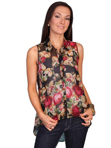 Scully Honey Creek Ladies' Sheer Hi Lo Blouse Front