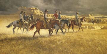 "Art Ceramic Tile ""Heading Back"" by Western artist Frank McCarthy"