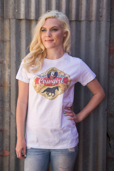 Original Cowgirl Clothing T-Shirt High Class Cowgirl White