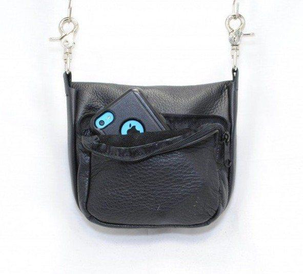 Hip Bag Double Compartment Black Cowhide Silver Foiled Black Gator Front