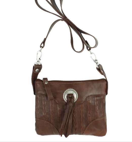 American West Basket Weave Collection Trail Rider Hip Bag Brown Front