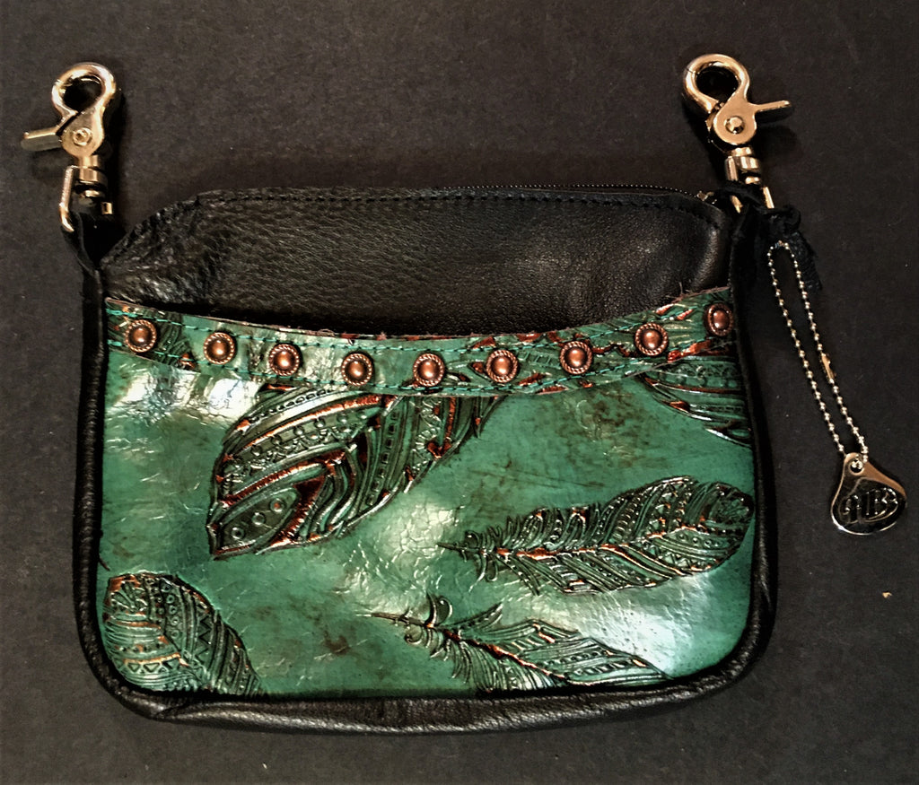 Hip Cellphone Jade Feather Print Front Pocket