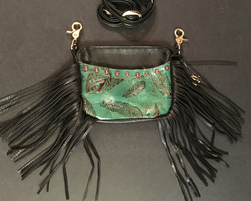 Hip Bag Company Side Cellphone with Fringe Jade Feather Leather