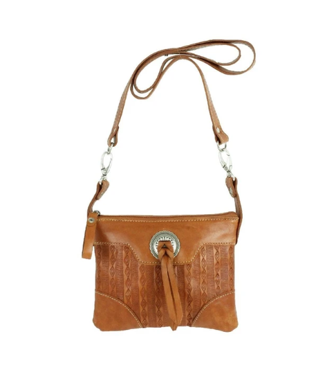 American West Basket Weave Collection Trail Rider Hip Bag Tan Front
