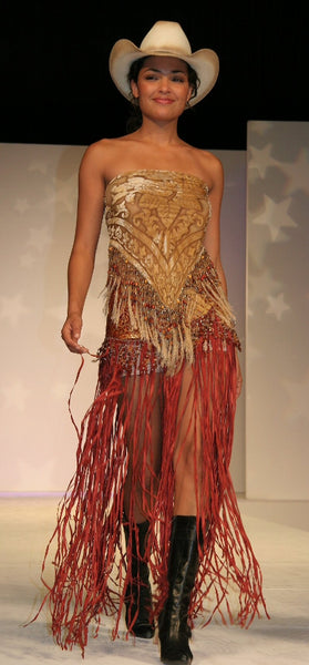 Texas Rose Beaded Hipster with Long Fringe