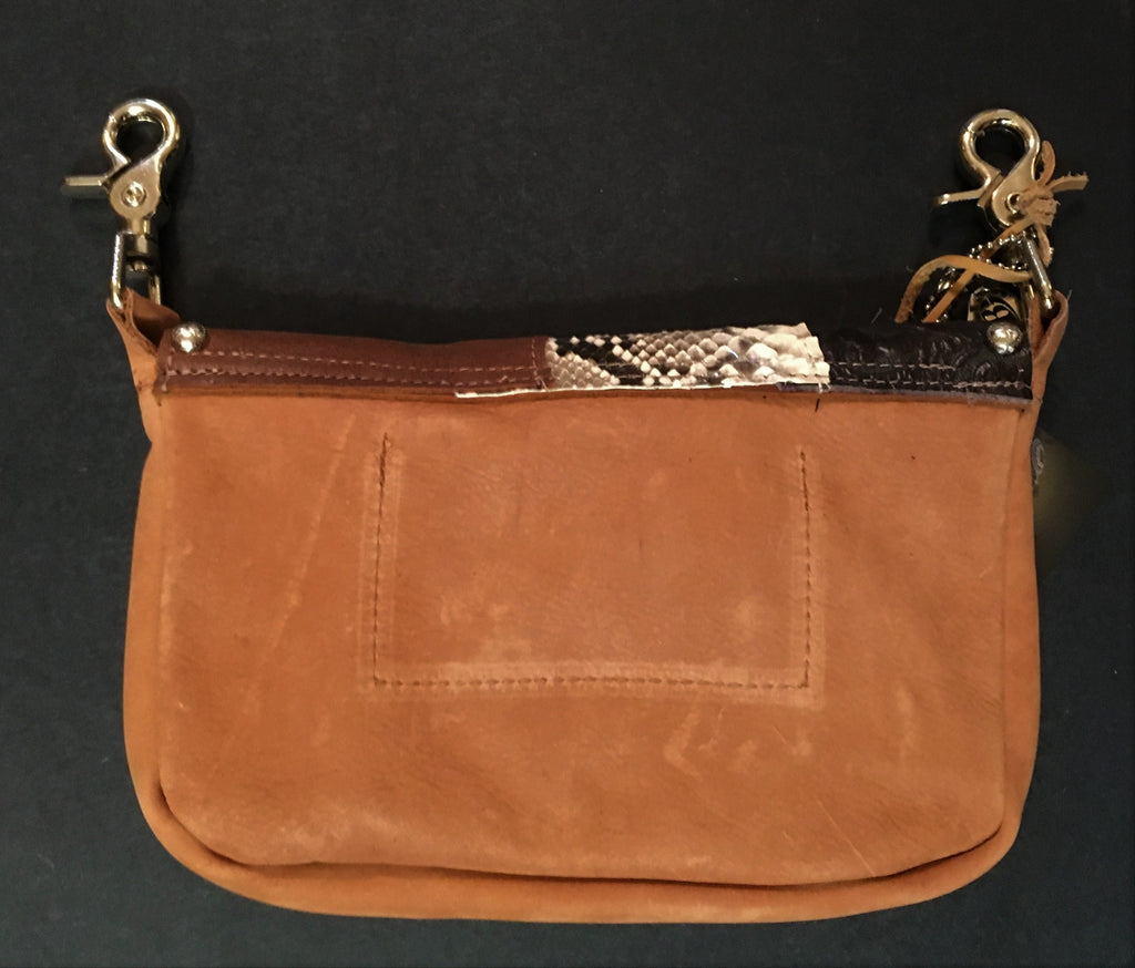 Hip Bag Zip Top with Exotic Skins, Hair-on-Hide, Running Horse Back