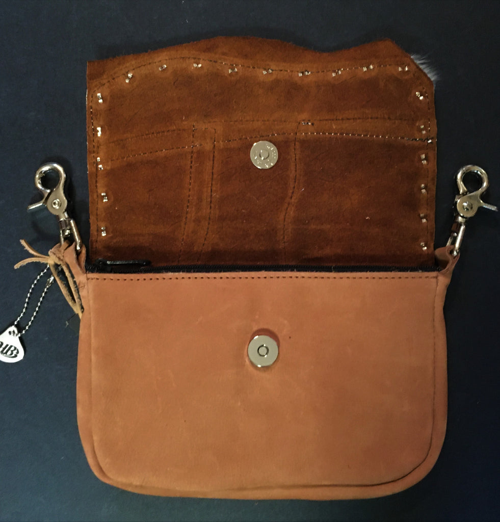 Hip Bag Zip Top with Exotic Skins, Hair-on-Hide, Running Horse Open