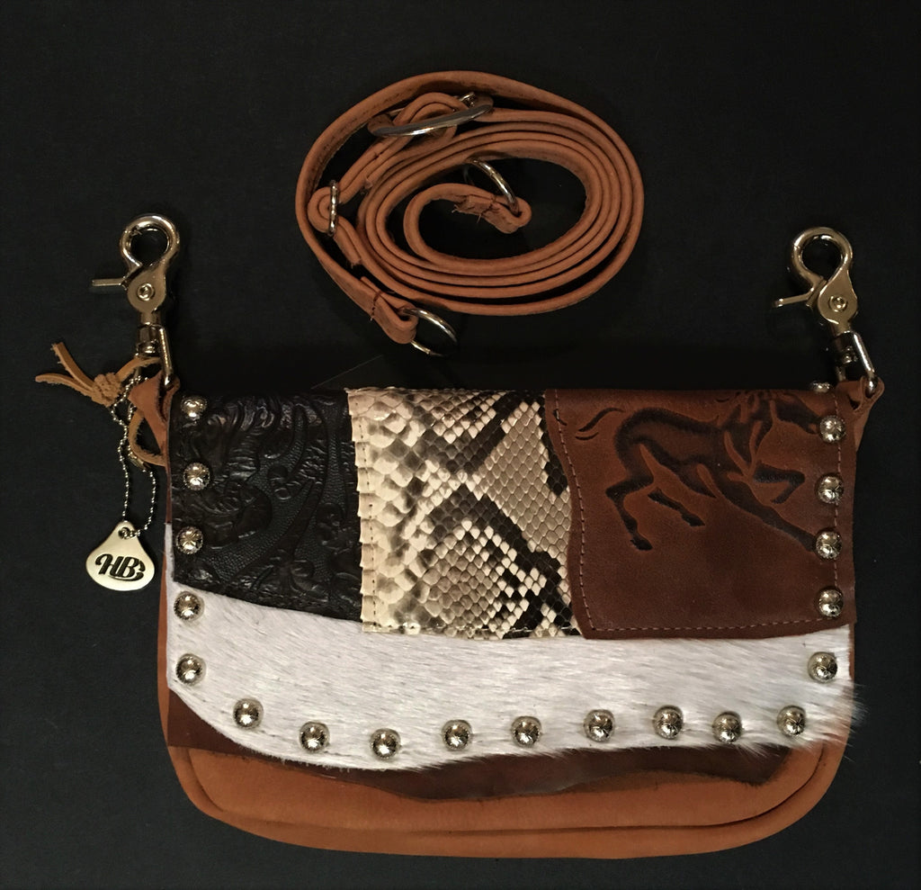 Hip Bag Zip Top with Exotic Skins, Hair-on-Hide, Running Horse Front