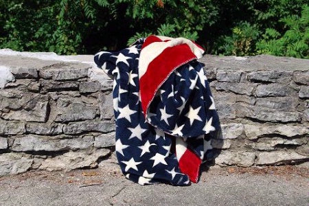 Denali Blankets Stars & Stripes Blanket Throw Front on Wall