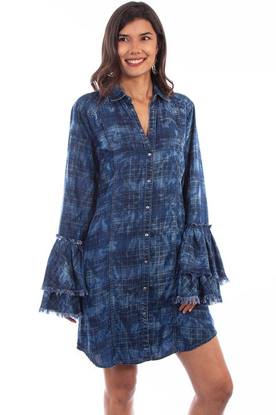 Scully Honey Creek Ladies' Washed Plaid Dress Double Ruffle Cuffs Front